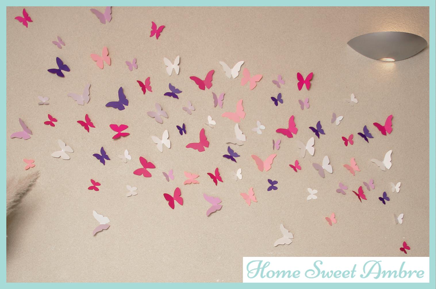 habiller un mur avec une envol e de papillons home sweet ambre. Black Bedroom Furniture Sets. Home Design Ideas