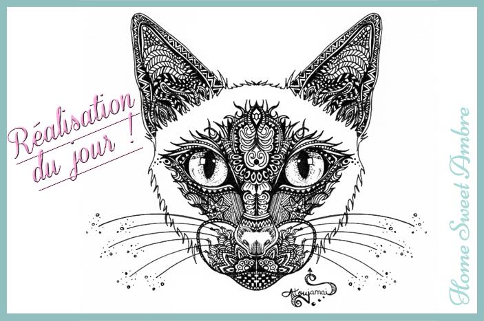 art graphique dessin de chat en noir et blanc à l'encre