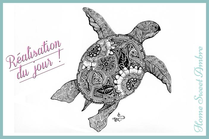 dessin de tortue à l'encre main levée