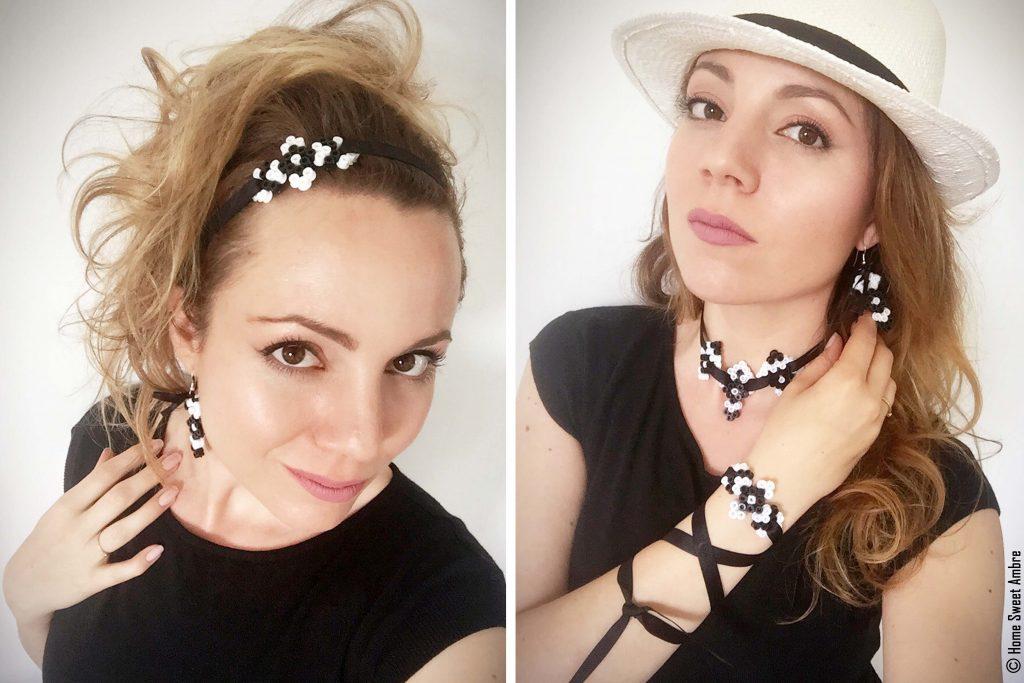 Demonstration de bijoux fait avec des perles à repasser - modèles en noir et blanc