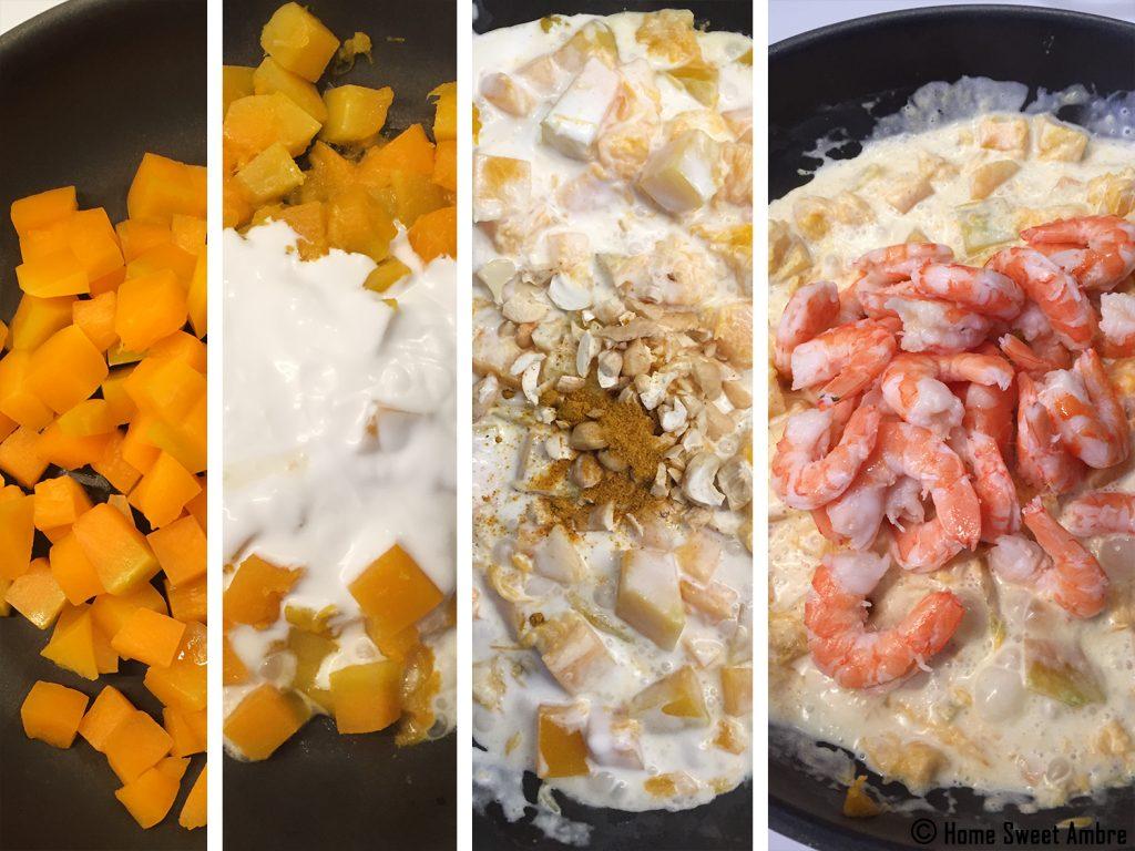 Les étapes de la recette de cari crevette citrouille ou butternut
