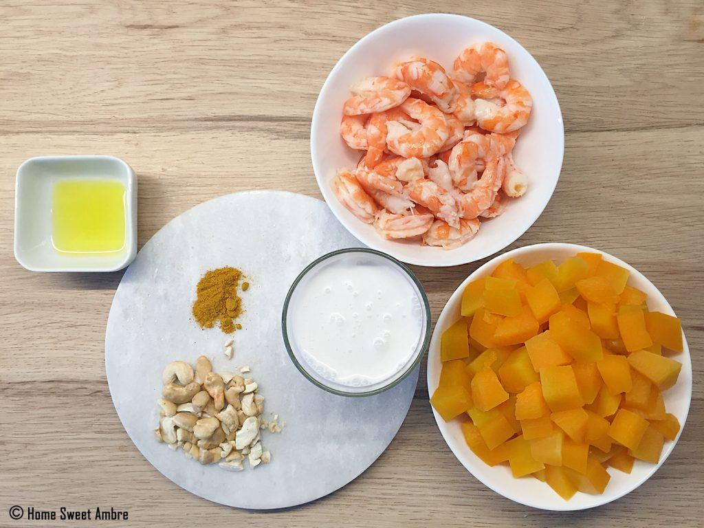 Ingrédients pour recette de cari crevette citrouille ou butternut