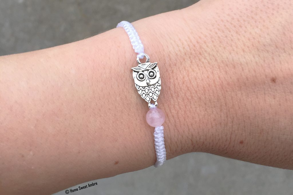 Tutoriel bracelet macramé chouette et quartz rose