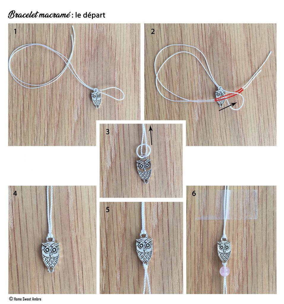 Tutoriel bracelet en macramé - le départ depuis la breloque