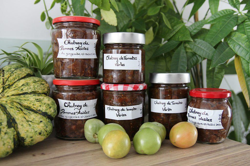 Conserves chutney pommes vertes et tomates vertes automne