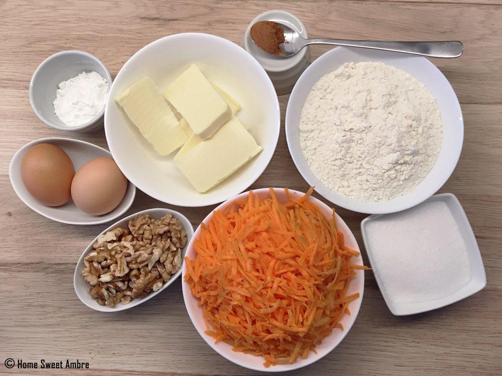 ingrédients cake aux carottes et aux noix
